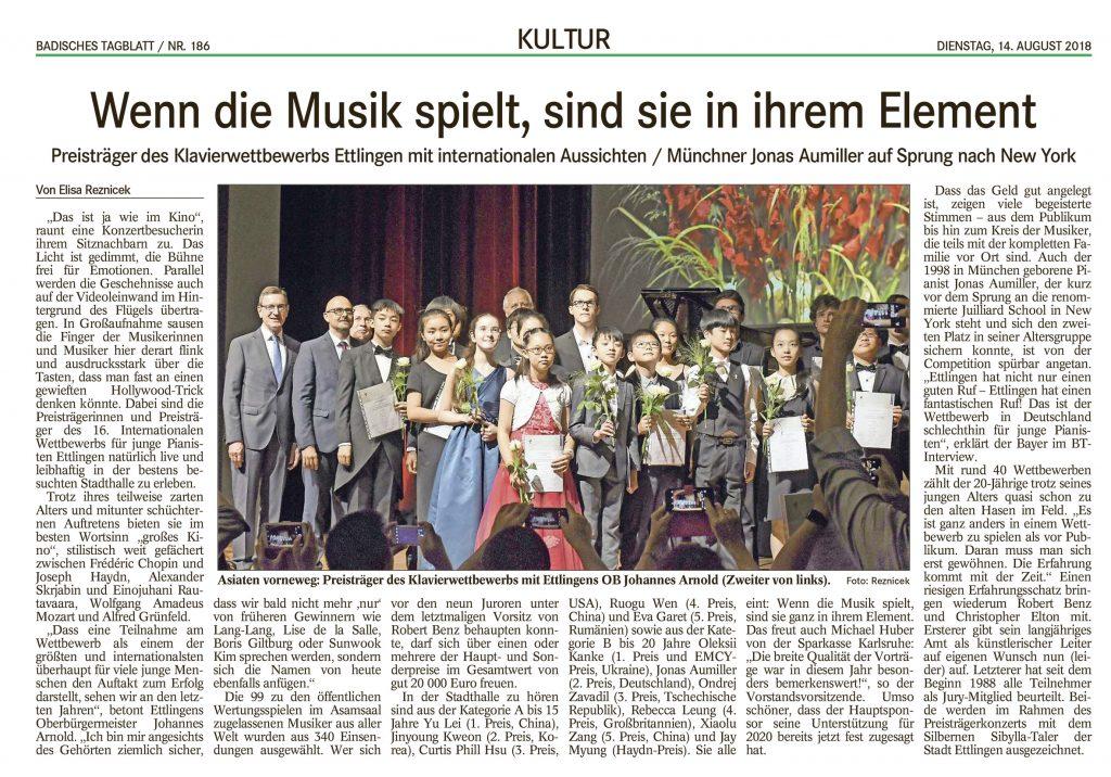 Preisträger des 16. Internationalen Klavierwettbewerbs Ettlingen. Jonas Aumiller ist nicht im Bild, da von einem Handydisplay verdeckt. (zum Vergrößern anklicken)