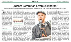 Interview Matt Simons beim SWR3 New Pop Festival 2019 by Elisa Reznicek (BT 12.09.19)